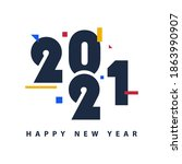 new year greeting designs 2021   Shutterstock .eps vector #1863990907