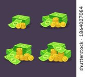 stack of golden coins and cash... | Shutterstock .eps vector #1864027084