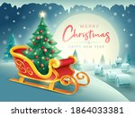 santa claus sleigh with... | Shutterstock .eps vector #1864033381