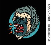 angry monkey tattoo vector... | Shutterstock .eps vector #1864077301