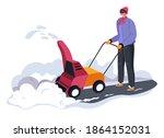 male character using snowblower ... | Shutterstock .eps vector #1864152031