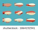 airships set. retro zeppelin...   Shutterstock .eps vector #1864152541