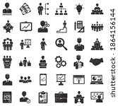 manager icons. black scribble... | Shutterstock .eps vector #1864156144