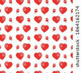 seamless pattern of red hearts... | Shutterstock .eps vector #1864162174
