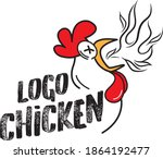 chicken logo character. a funny ... | Shutterstock .eps vector #1864192477