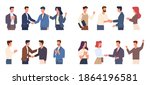 team congratulates colleague.... | Shutterstock .eps vector #1864196581