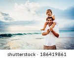 healthy loving father and... | Shutterstock . vector #186419861