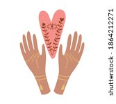 hands with heart in boho style. ...   Shutterstock .eps vector #1864212271