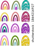 colorful rainbow drawings on... | Shutterstock . vector #1864216927