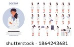doctor woman poses vector... | Shutterstock .eps vector #1864243681