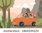family travel in a orange car ... | Shutterstock .eps vector #1864244224