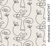 abstract faces seamless pattern ... | Shutterstock .eps vector #1864247347