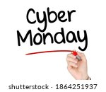 a hand writing 'cyber monday'...   Shutterstock . vector #1864251937