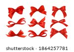 gift bows silk red ribbon with... | Shutterstock .eps vector #1864257781