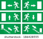 Emergency exit signs set. Vector illustration.
