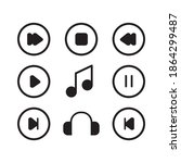 Music Player Icon Set On A...