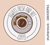 coffee design over beige... | Shutterstock .eps vector #186430961