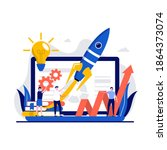 start up launch  venture ... | Shutterstock .eps vector #1864373074
