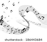 musical note staff. eps 10... | Shutterstock .eps vector #186443684