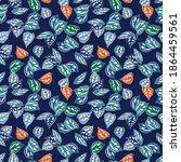 cute leaves botanical seamless... | Shutterstock .eps vector #1864459561