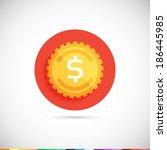 gold coin icon. flat ui. vector ...