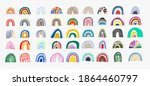 set of rainbow abstract drawing.... | Shutterstock .eps vector #1864460797
