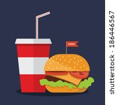 hamburger with soda | Shutterstock .eps vector #186446567