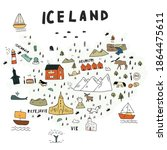 cartoon map of iceland in hand...   Shutterstock .eps vector #1864475611