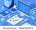 science laboratory work desk... | Shutterstock .eps vector #1864502971