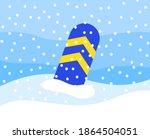 A Striped Snowboard Partially...