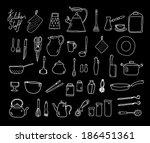 kitchenware. doodle set in... | Shutterstock .eps vector #186451361