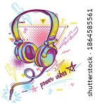 funky drawn cartoon musical... | Shutterstock .eps vector #1864585561