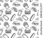 fast food seamless pattern....   Shutterstock .eps vector #1864611247