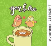 cute greeting card with owls on ... | Shutterstock .eps vector #186463847