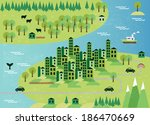 cartoon map with city | Shutterstock .eps vector #186470669