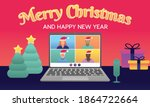 merry christmas and happy new... | Shutterstock .eps vector #1864722664