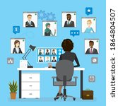 group video conference ... | Shutterstock .eps vector #1864804507