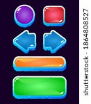 set of game ui colorful jelly...