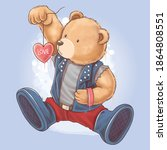 bear teddy wears a rocker...   Shutterstock .eps vector #1864808551