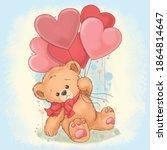 Bear Teddy Holds A Balloon That ...