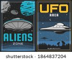 ufo aliens and outer space ...   Shutterstock .eps vector #1864837204