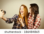 funny hipster girls with plaid... | Shutterstock . vector #186484865