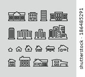 building icons set. strokes not ... | Shutterstock .eps vector #186485291