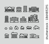 building icons set. strokes not ... | Shutterstock .eps vector #186485291