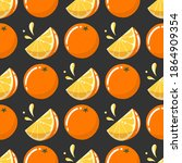 seamless pattern with oranges... | Shutterstock .eps vector #1864909354