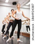 Ballet troupe in lesson in a...