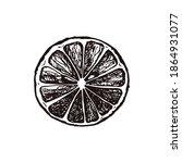 hand drawn lemon slice isolated ...   Shutterstock .eps vector #1864931077