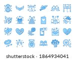 valentines day flat line icons. ... | Shutterstock .eps vector #1864934041