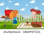 background scene with two girls ... | Shutterstock .eps vector #1864937221