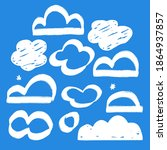 set of clouds. hand drawn white ... | Shutterstock .eps vector #1864937857